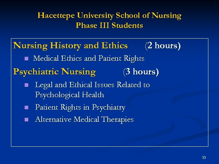 Hacettepe University School of Nursing Phase III Students Nursing History and Ethics n Medical