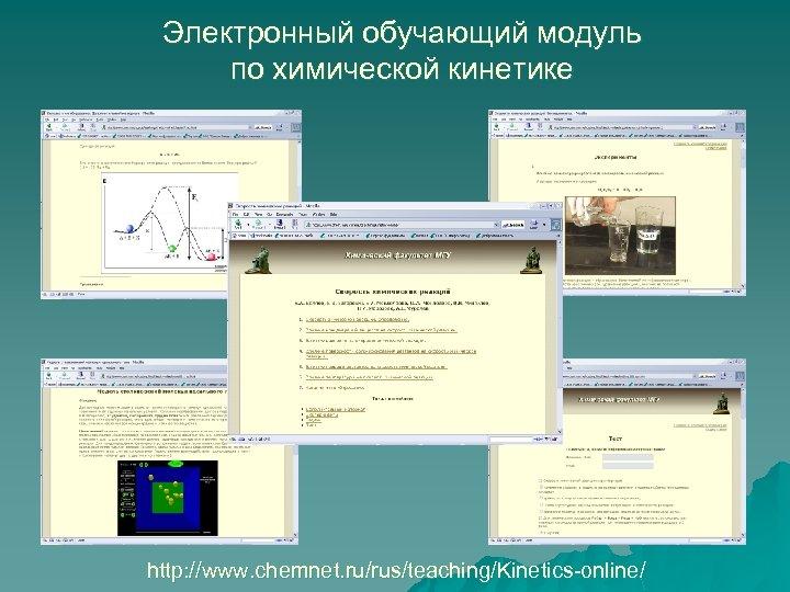 Электронный обучающий модуль по химической кинетике http: //www. chemnet. ru/rus/teaching/Kinetics-online/