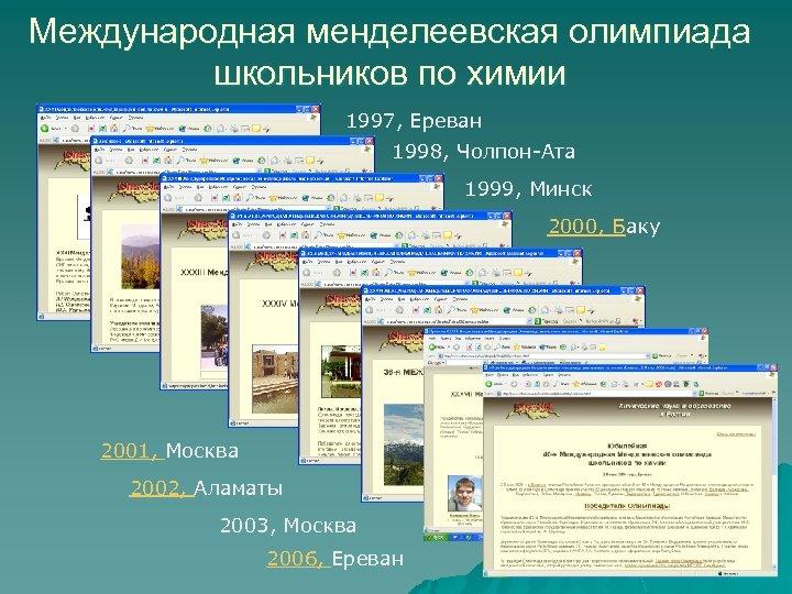 Международная менделеевская олимпиада школьников по химии 1997, Ереван 1998, Чолпон-Ата 1999, Минск 2000, Баку