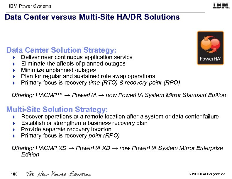 IBM Power Systems Data Center versus Multi-Site HA/DR Solutions Data Center Solution Strategy: 4