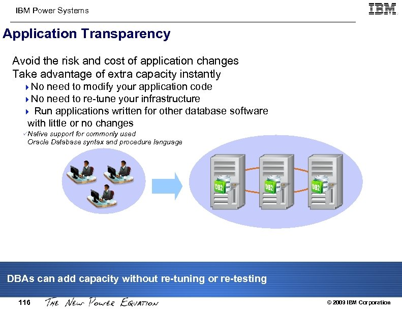 IBM Power Systems Application Transparency Avoid the risk and cost of application changes Take