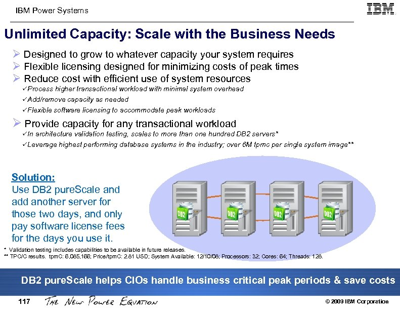 IBM Power Systems Unlimited Capacity: Scale with the Business Needs Ø Designed to grow