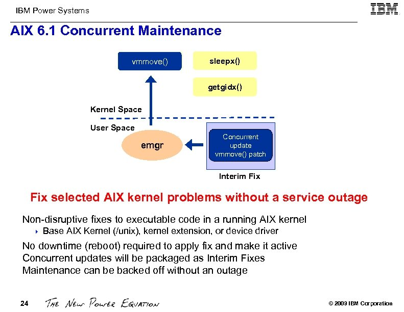 IBM Power Systems AIX 6. 1 Concurrent Maintenance vmmove() sleepx() getgidx() Kernel Space User