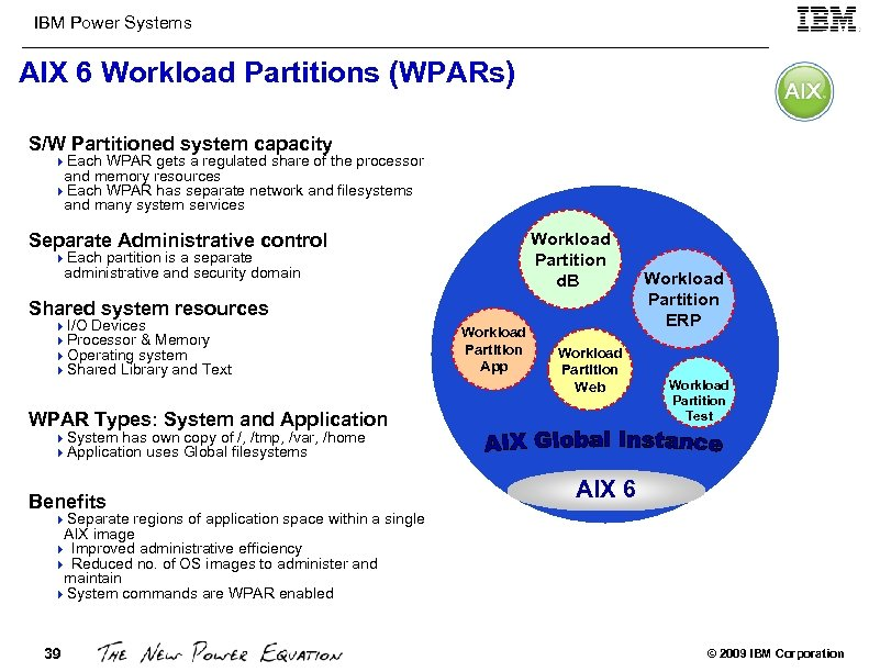 IBM Power Systems AIX 6 Workload Partitions (WPARs) S/W Partitioned system capacity 4 Each