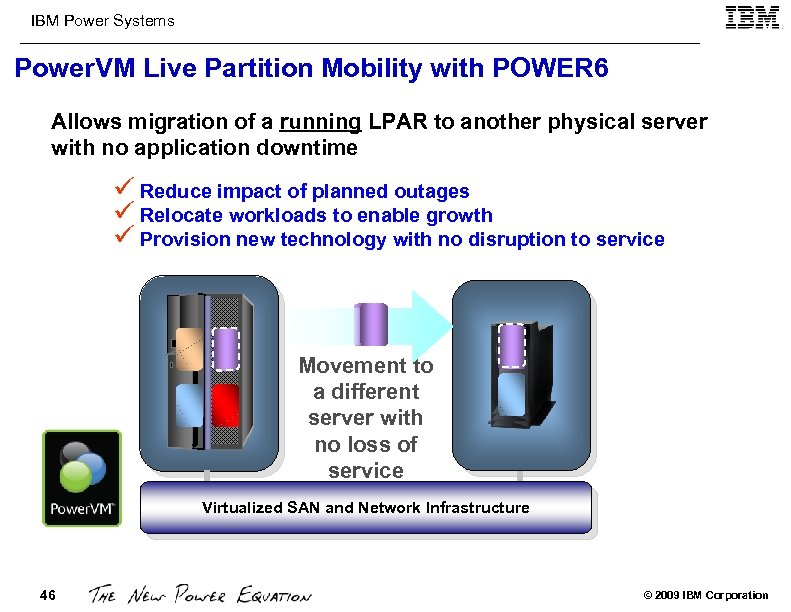 IBM Power Systems Power. VM Live Partition Mobility with POWER 6 Allows migration of