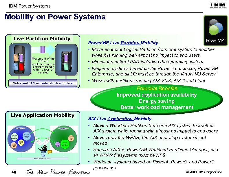IBM Power Systems Mobility on Power Systems Live Partition Mobility Movement of the OS