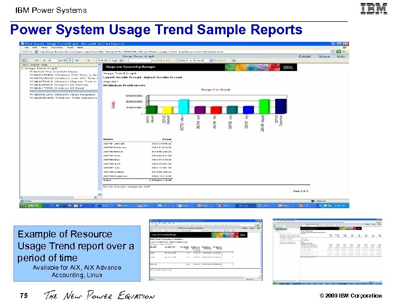 IBM Power Systems Power System Usage Trend Sample Reports Example of Resource Usage Trend