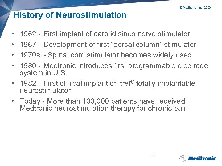 © Medtronic, Inc. 2009 History of Neurostimulation • • 1962 - First implant of