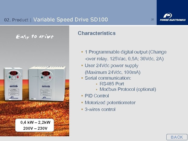 02. Product | Variable Speed Drive SD 100 26 Characteristics § 1 Programmable digital