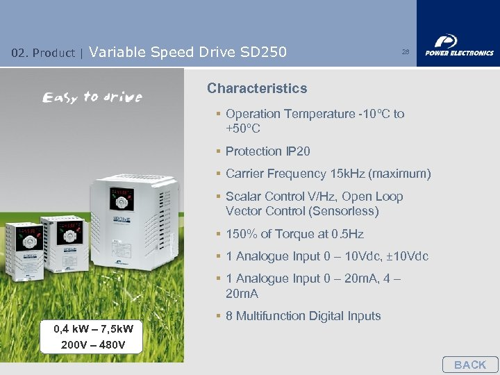 02. Product | Variable Speed Drive SD 250 28 Characteristics § Operation Temperature -10ºC