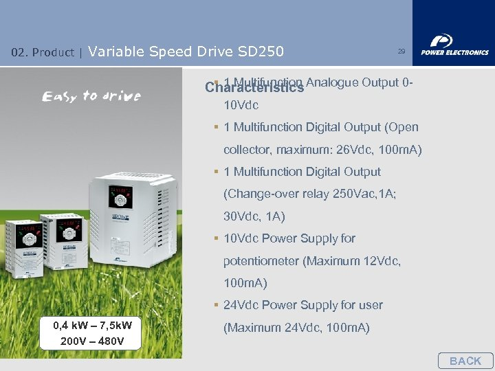02. Product | Variable Speed Drive SD 250 29 § 1 Multifunction Characteristics Analogue