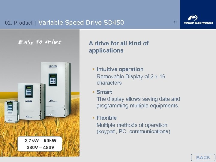 02. Product | Variable Speed Drive SD 450 31 A drive for all kind