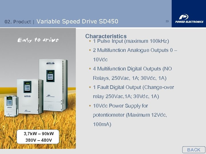 02. Product | Variable Speed Drive SD 450 33 Characteristics § 1 Pulse Input
