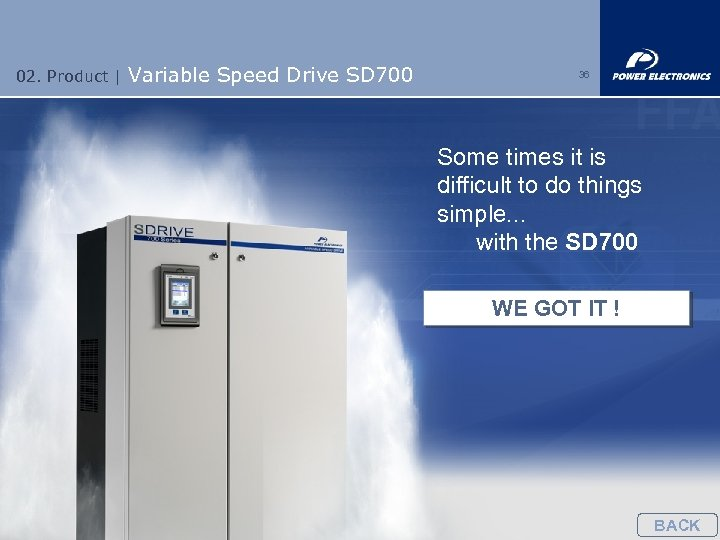 02. Product | Variable Speed Drive SD 700 36 Some times it is difficult