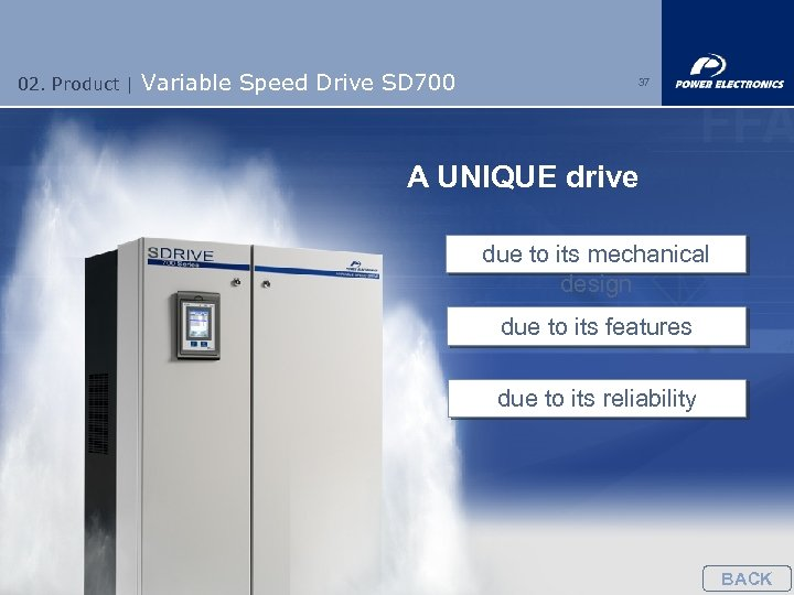 02. Product | Variable Speed Drive SD 700 37 A UNIQUE drive due to