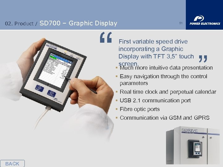 "02. Product / SD 700 – Graphic Display "" 51 First variable speed drive"