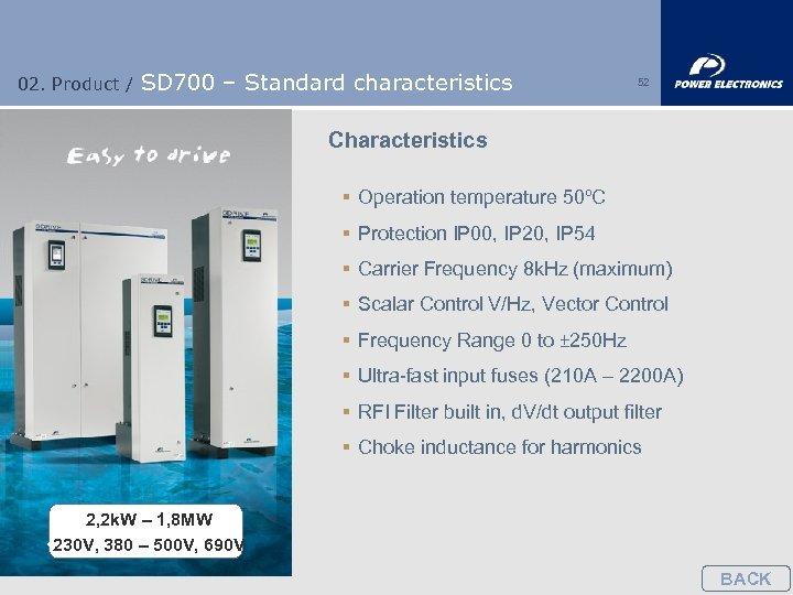 02. Product / SD 700 – Standard characteristics 52 Characteristics § Operation temperature 50ºC