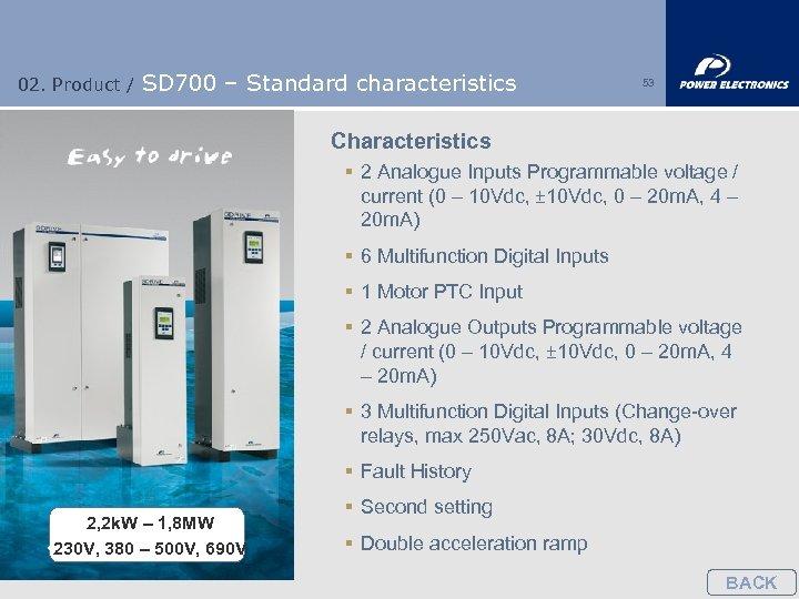 02. Product / SD 700 – Standard characteristics 53 Characteristics § 2 Analogue Inputs