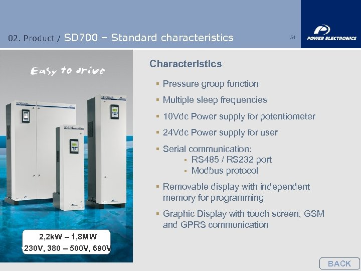 02. Product / SD 700 – Standard characteristics 54 Characteristics § Pressure group function