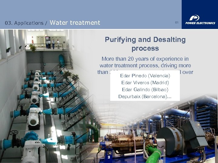 03. Applications / Water treatment 61 Purifying and Desalting process More than 20 years