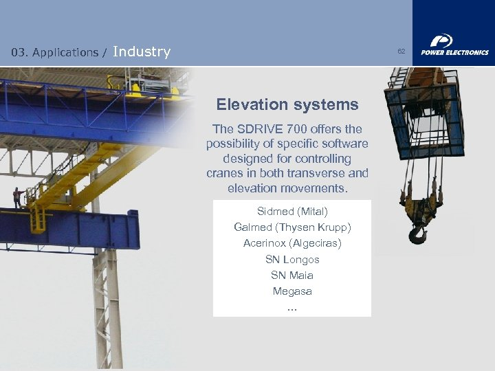 03. Applications / Industry 62 Elevation systems The SDRIVE 700 offers the possibility of