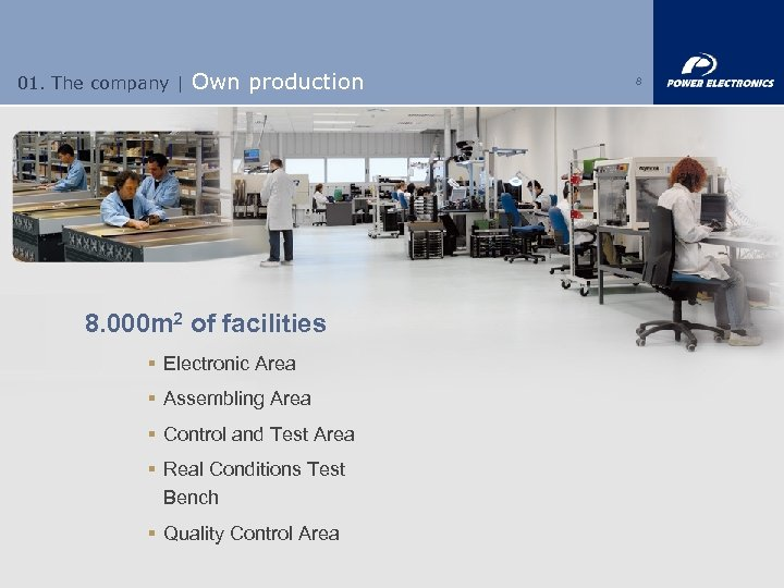 01. The company | Own production 8. 000 m 2 of facilities § Electronic