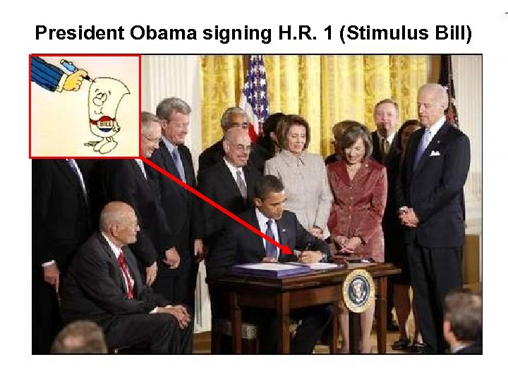 President Obama signing H. R. 1 (Stimulus Bill)