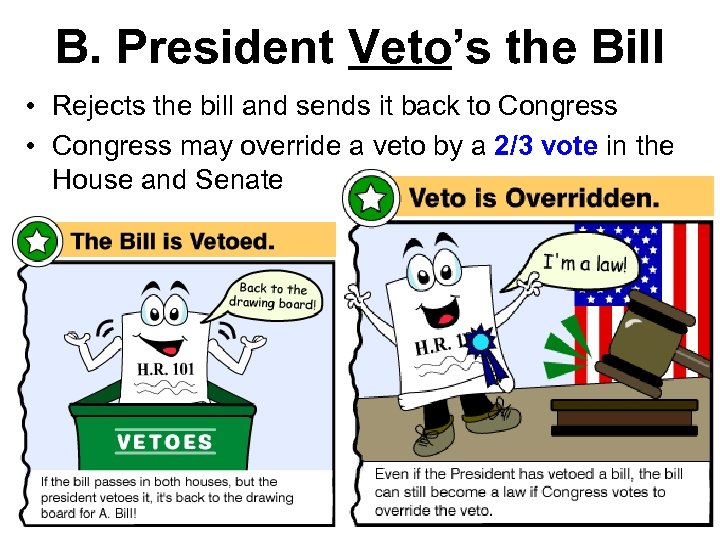 B. President Veto's the Bill • Rejects the bill and sends it back to