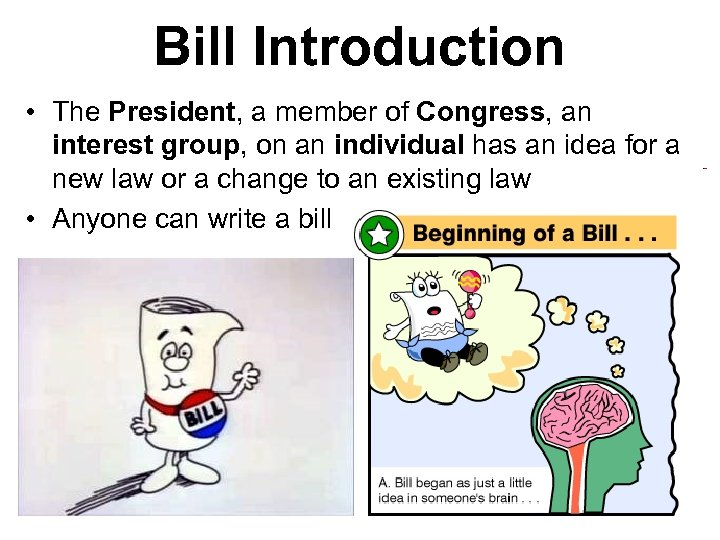 Bill Introduction • The President, a member of Congress, an interest group, on an