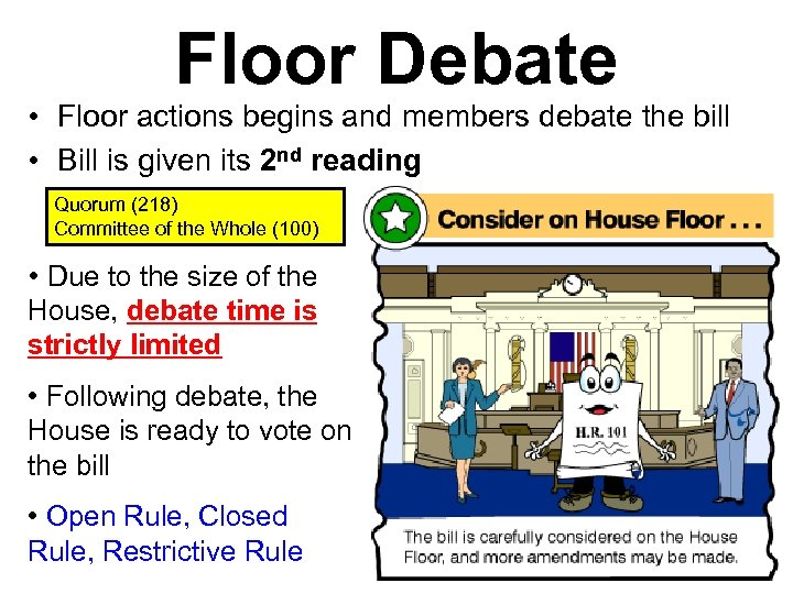 Floor Debate • Floor actions begins and members debate the bill • Bill is