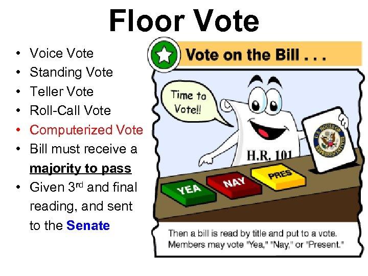 Floor Vote • • • Voice Vote Standing Vote Teller Vote Roll-Call Vote Computerized
