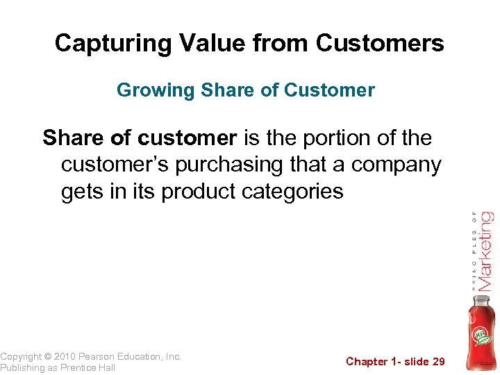 Capturing Value from Customers Growing Share of Customer Share of customer is the portion