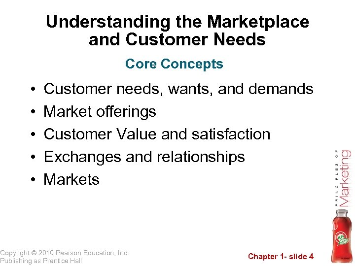 Understanding the Marketplace and Customer Needs Core Concepts • • • Customer needs, wants,