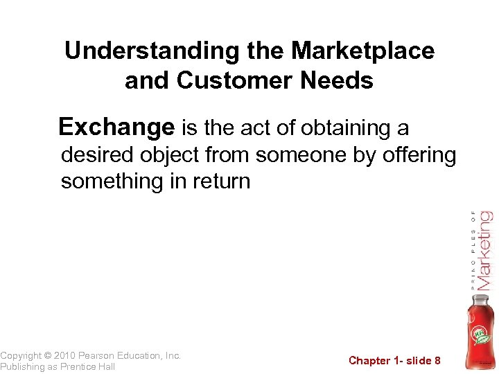 Understanding the Marketplace and Customer Needs Exchange is the act of obtaining a desired