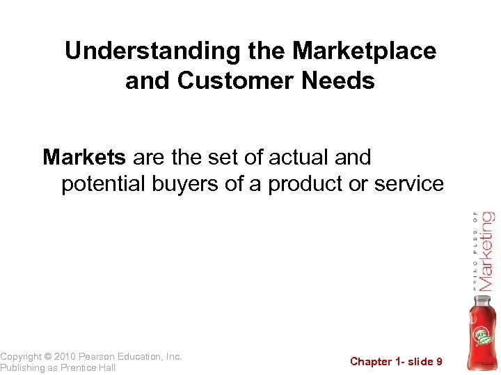 Understanding the Marketplace and Customer Needs Markets are the set of actual and potential