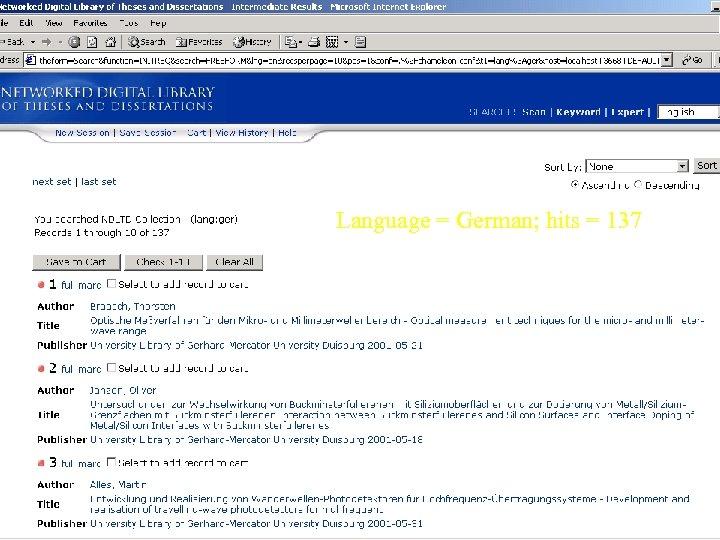 Language = German; hits = 137