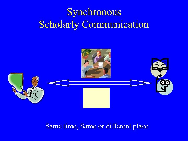 Synchronous Scholarly Communication Same time, Same or different place