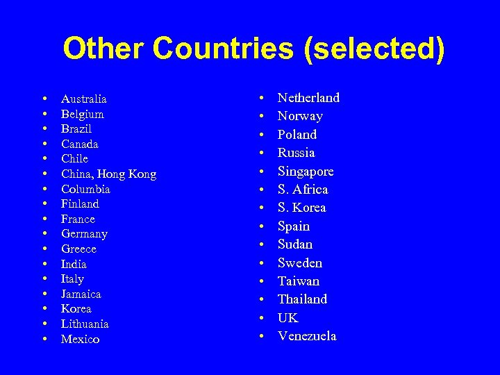 Other Countries (selected) • • • • • Australia Belgium Brazil Canada Chile China,