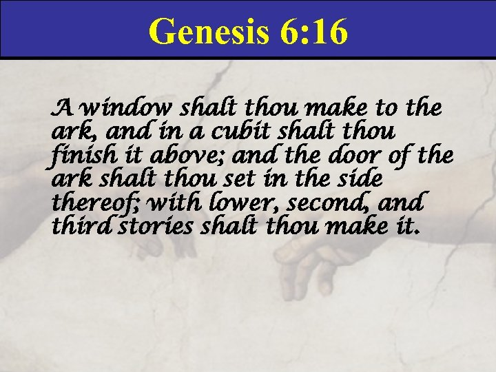 Genesis 6: 16 A window shalt thou make to the ark, and in a