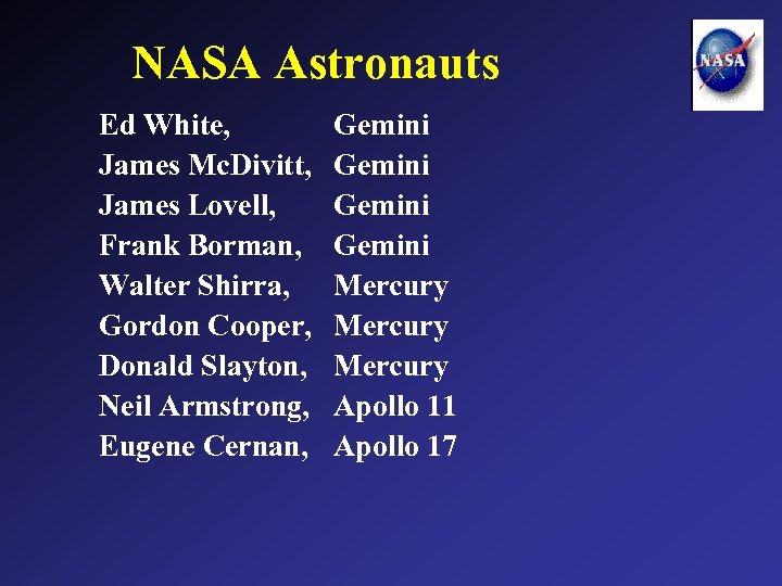 NASA Astronauts Ed White, James Mc. Divitt, James Lovell, Frank Borman, Walter Shirra, Gordon