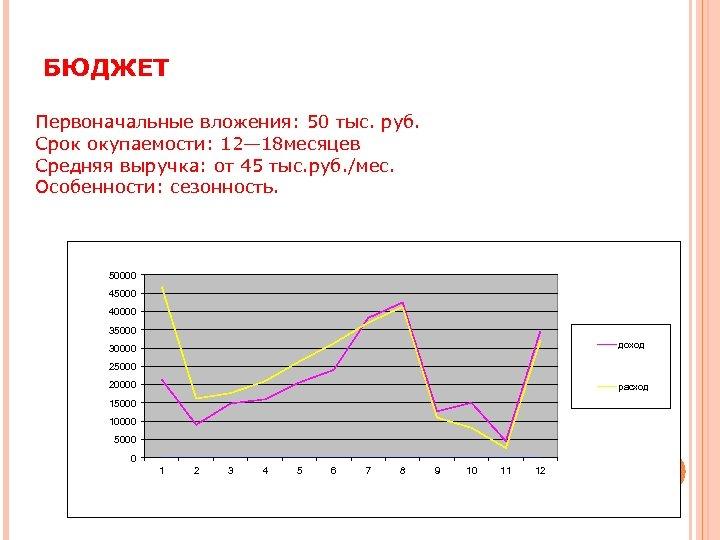 БЮДЖЕТ Первоначальные вложения: 50 тыс. руб. Срок окупаемости: 12— 18 месяцев Средняя выручка: от