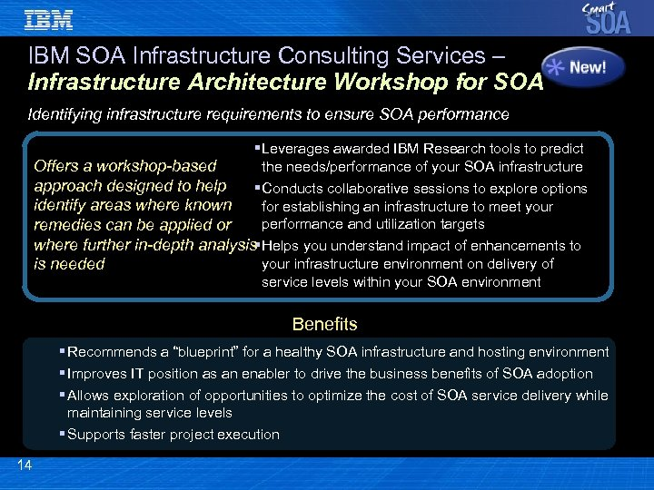 IBM SOA Infrastructure Consulting Services – Infrastructure Architecture Workshop for SOA Identifying infrastructure requirements