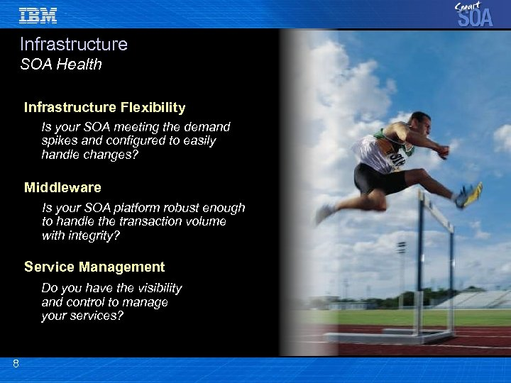 Infrastructure SOA Health Infrastructure Flexibility Is your SOA meeting the demand spikes and configured