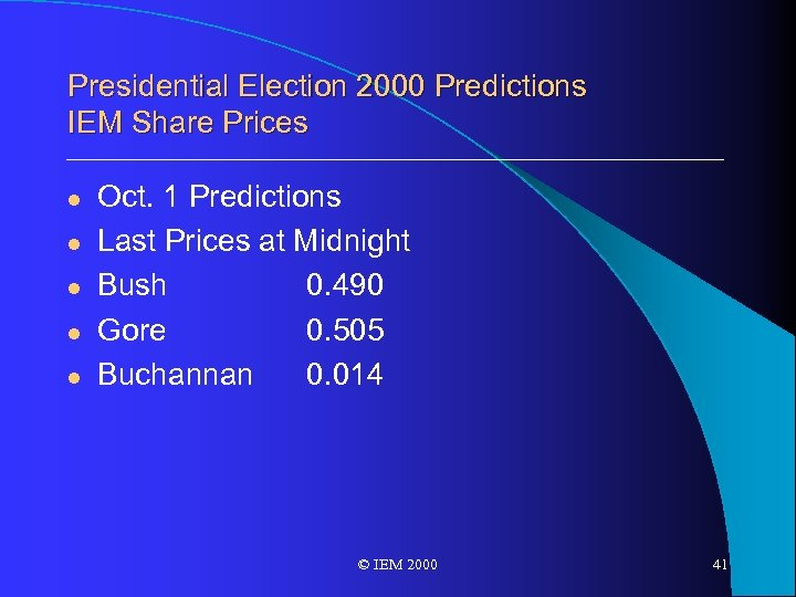 Presidential Election 2000 Predictions IEM Share Prices l l l Oct. 1 Predictions Last