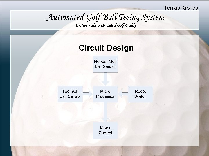Tomas Krones Automated Golf Ball Teeing System Mr. Tee - The Automated Golf Buddy