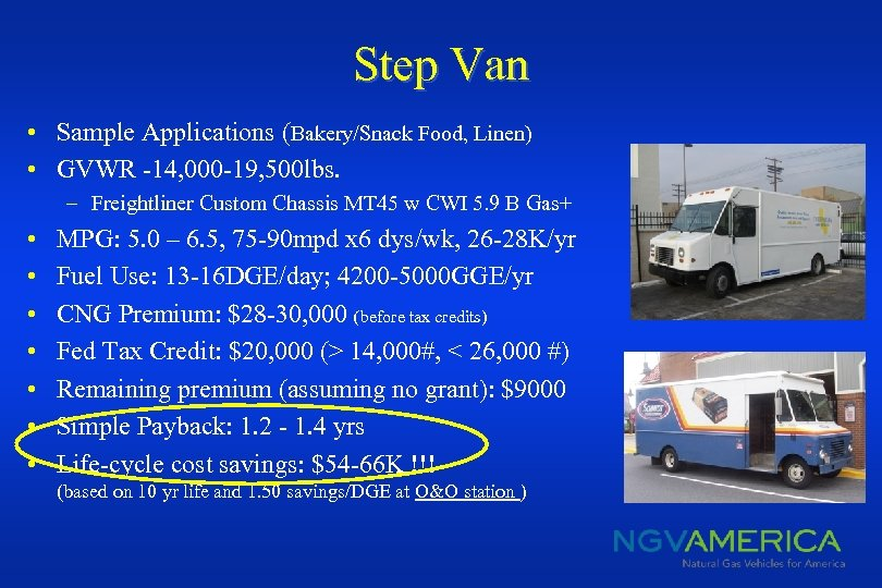 Step Van • Sample Applications (Bakery/Snack Food, Linen) • GVWR -14, 000 -19, 500