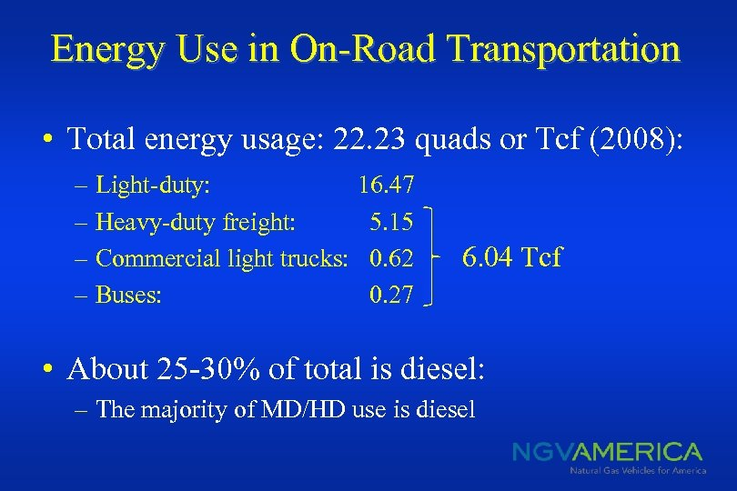 Energy Use in On-Road Transportation • Total energy usage: 22. 23 quads or Tcf
