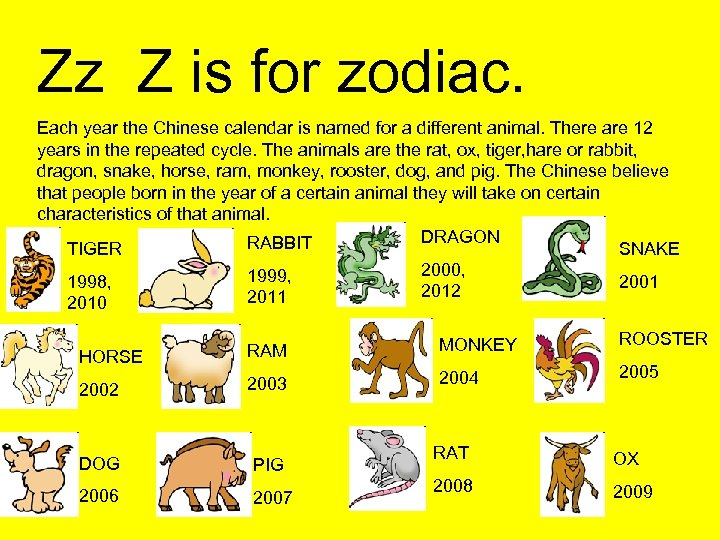 Zz Z is for zodiac. Each year the Chinese calendar is named for a