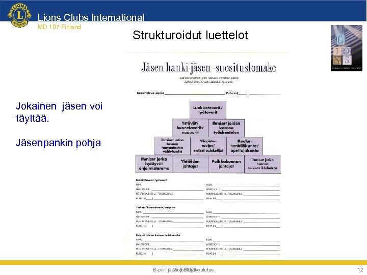Lions Clubs International MD 107 Finland Strukturoidut luettelot Jokainen jäsen voi täyttää. Jäsenpankin pohja