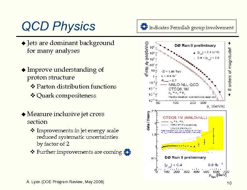 QCD Physics u Jets u Improve understanding of proton structure v Parton distribution functions